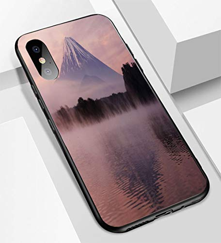 iPhone X/XS Ultra-Thin Glass Back Phone case,Mount Fuji from Lake Shoji Shojiko at Dawn with twilgiht Sky Soft and Easy to Protect The Protective case