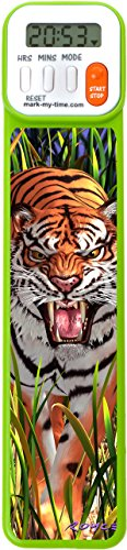 Mark-My-Time 3D Tiger Digital Bookmark and Reading Timer - Green]()