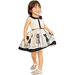 Hotone Lovely Princess Baby Kids Girls Cat Belt Party One-piees Gown Dresses 2-7y (3-4 Years)