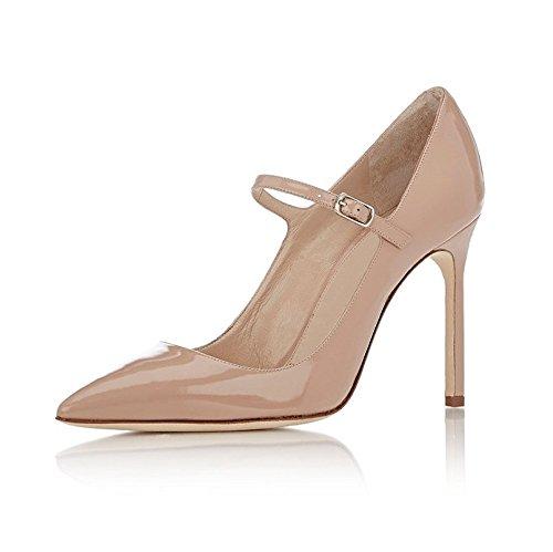 EDEFS Escarpins Femme - Mary Janes Chaussure - Lanières Femme - Talons Hauts Aiguilles - Bout Pointure fermé Beige 11h0utmk1