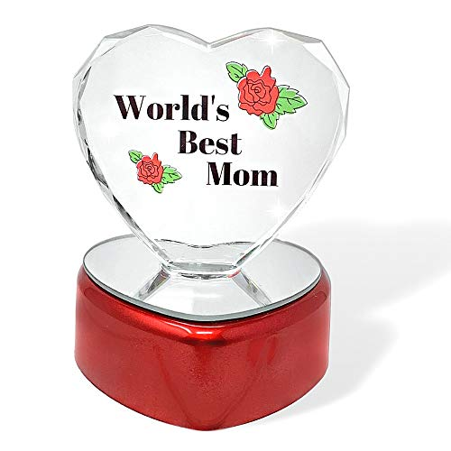 Light up LED Heart for Mom - Worlds Best Mom - Glass Heart on LED Lighted Base - Gifts for Mom - Mom Gifts (Best Mom In The World)