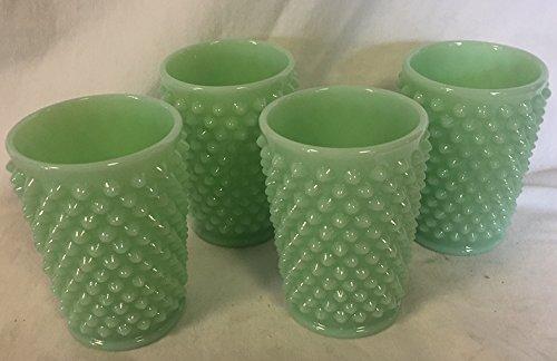 Hobnail Pattern - Tumbler / Juice Glass - Jade Jadeite Green Glass - American Made - Mosser USA (4)
