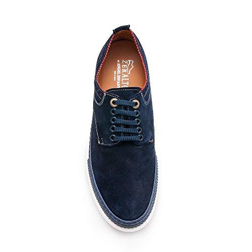 Zerimar Hoogte Verhogende Lift Schoenen Voor Heren Toevoegen +2,7 Inch Aan Uw Hoogte Kwaliteit Lederen Schoenen Marine Blauw Gemaakt In Spanje Marineblauw