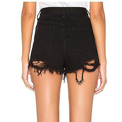 Eaktool Mid Rise Shorts with Pockets,Fashion Women Casual Skinny Jeans Hole Denim Female Mid Waist Shorts Pants -