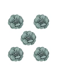 MagiDeal 5Pcs Fabric Flower DIY Findings Crafts for Hairband Hair Clips Hair Barrette Handmade Hair Accessories Dress Green/Pink/Khaki