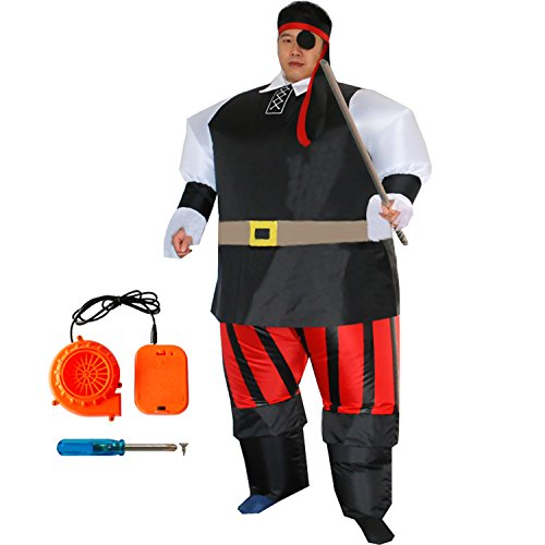 Inflatable Pirates Costume Funny Cool Halloween Blow Up Sumo Outfit Chubsuit (Mens Inflatable Sumo Costume)