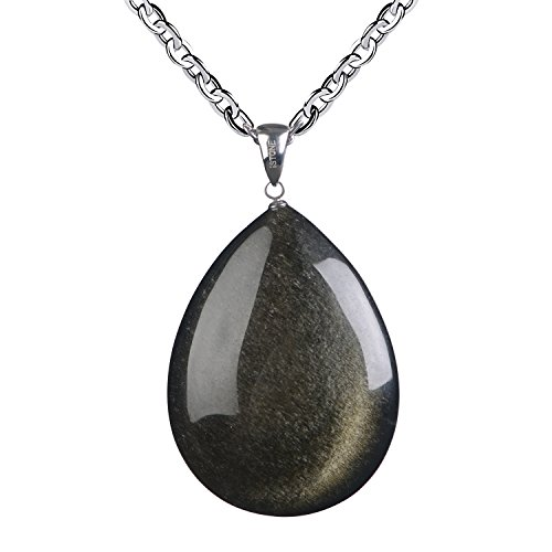 Gold Obsidian (iSTONE Natural Gold Sheen Obsidian Stone Necklace Pendant Obsidian with Stainless Steel Chain, Talisman Dedication of Wellness and Wealth)