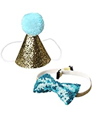 pengxiaomei Dog Birthday Cone Hat and Bow Tie Collar Sequin Set,Mini Doggy Cat Birthday Party Decoration Headwear Hair Accessories Pet Headband + Bowknot