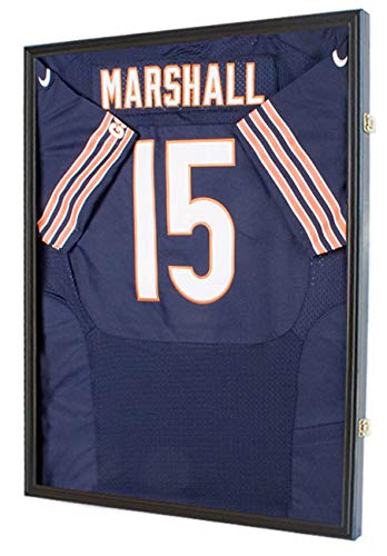 UV Protection Baseball/Football Jersey Frame Display Case Shadow Box, Black (JC04-BL)