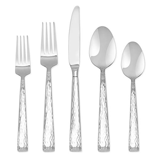 Hampton Forge Signature - Brocade Hammered - 20 Piece Flatware Set - Service for 4 Silverware set  - Stainless Steel Hammered - Mirror Finish, Silver - Hampton Forge Stainless