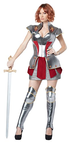 Female Medieval Costumes (California Costumes Women's Joan of Arc Historical Heroine Costume, Silver/Red,)