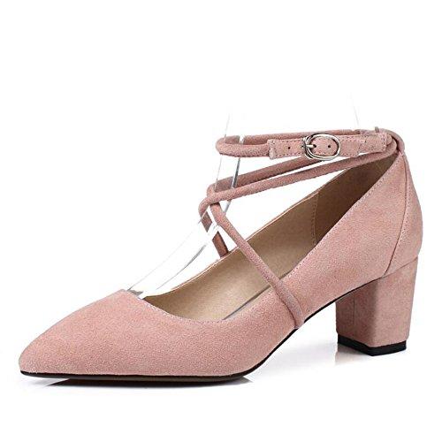Xzgc Con Transversales De Gruesas Primavera Zapatos Señaló Mujer Rosa Tiras Las Tacón qZqUgx8
