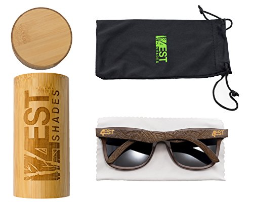 Bamboo Wood Sunglasses -Polarized handmade wooden shades in a wayfarer that Floats by 4est Shades (Image #4)