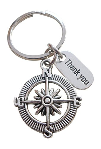 Appreciation Gift Keychain, Thank You Compass Keychain, Thank you for all your guidance