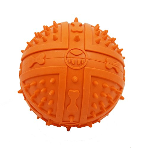 Lifeunion Durable Rubber Pet Dog Squeeze Ball Squeaky Chew Play Fetch Love Toy for Medium and Large Dogs (Orange)