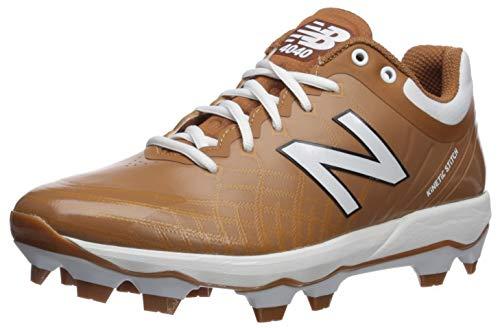 New Balance Men's 4040v5 Molded Baseball Shoe, Texas Orange/White, 6 D US