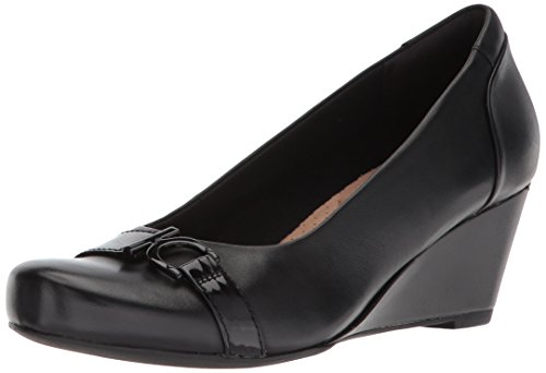 Clarks Women's Flores Poppy Wedge Pump,black leather,7.5 B U