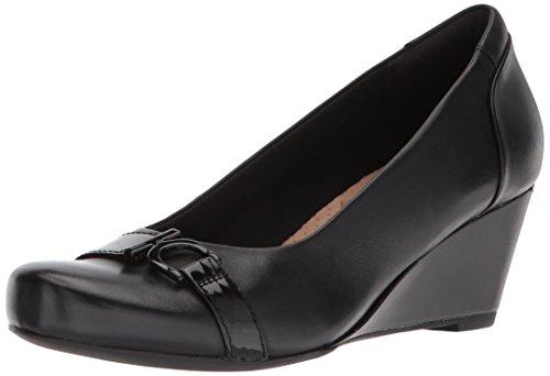 Clarks Women's Flores Poppy Wedge Pump,black leather,9.5 B(M) US