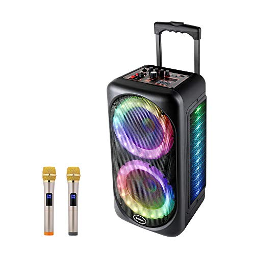 Shinco Karaoke Speaker with Party Lights - Dual 8 Inch Subwoofer Portable Karaoke Machine