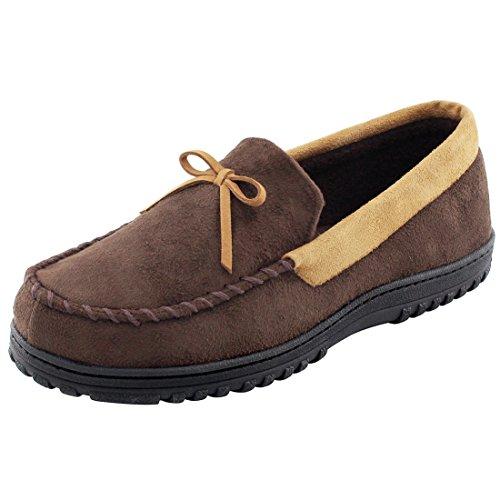 RockDove Men's Memory Foam Moc Slippers, Warm Fleece Lined Indoor Outdoor Moccasins, Size 11 US Men, Brown