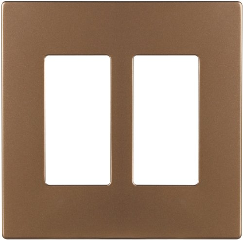 Brushed Bronze Wall - The Eaton PJS262BB-SP-L Polycarbonate 2-Gang Screwless Decorator Mid Size Wall Plate, Brushed Bronze