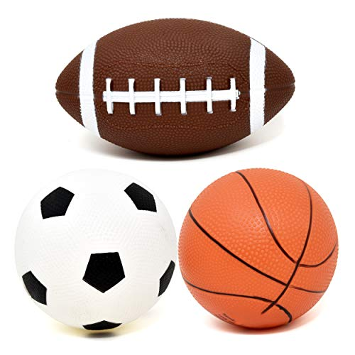 Number 1 in Gadgets Set of 3 Sports Balls for Kids, Mini Sport Pack Includes Football, Soccer & Basketball for Soft Indoor & Outdoor Play Great for Toddlers & Little Hands ()