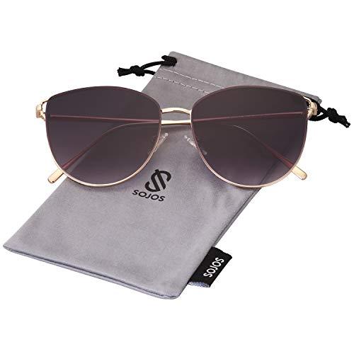 SOJOS Mirrored Flat Lens Fashion Sunglasses for Women SJ1085 SJ2036 with Gold Frame/Gradient Grey Lens