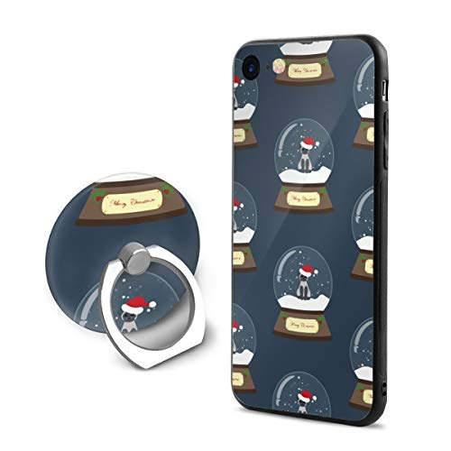 Dachshund Snowglobe - iPhone 8 Case,Shock-Absorption IPhone7/8 Phone Case Christmas Snow Globe with Cat Shockproof Series Protective Case for iPhone 7/8 with Rotating Stand
