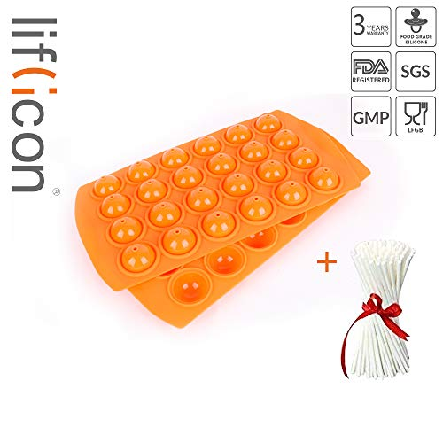 liflicon Silicone Lollipop cake Tray Mold-24 Cavities Baking Mold Cake Pop Stick Mold Tray Hard Candy, Lollipop and Party Cupcake for Parties with lollypop Sticks-Orange ()