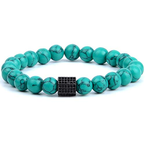- FOKLC Bracelet 8mm Natural Stone Lava Agates Labradorite Beaded Bracelets for Women Jewelry