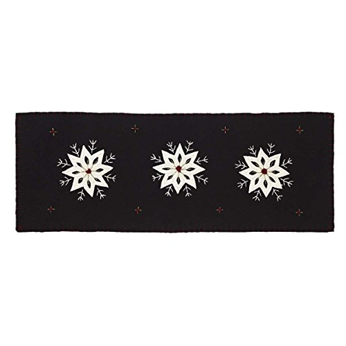 VHC Brands Christmas Snowflake Runner Felt Embroidery 13x36