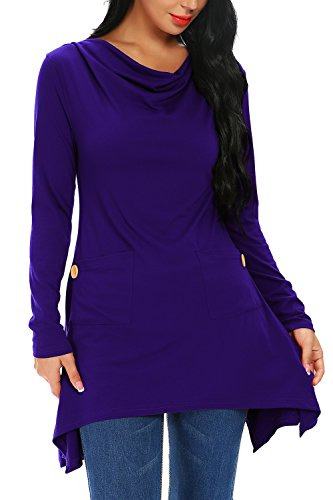 FISOUL Womens Long Sleeve Tunic Tops Cowl Neck Asymmetrical Tops With Pockets Dark Blue XL (Asymmetrical Neck Cowl)