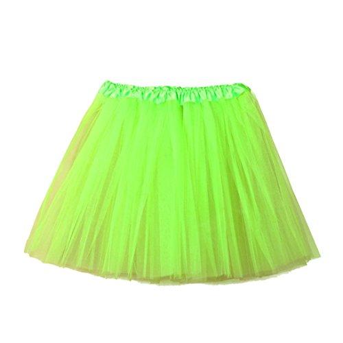c 3 Layered Tulle Tutu Skirt,[Vintage Petticoat Elastic Skirt 1950s Underskirt ] (Green, Waist:19.6