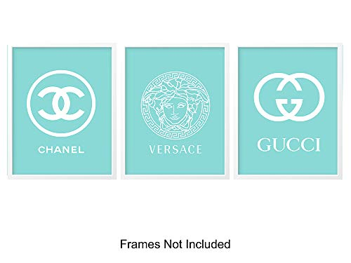 Gucci, Versace, Coco Chanel Glam Set of 3, 8x10 Photo Posters - Designer Fashion Wall Art Prints and Home Decor - Great Gift for Women, Teens, Girls, Her, Wife, Fashionista - Blue (Versace X Gucci)
