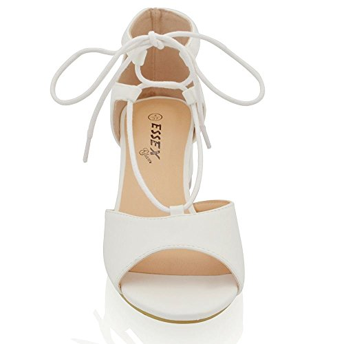 ESSEX GLAM Womens Chunky Low Heel Sandals Lace Up Tie Peep Toe Evening Shoes White Synthetic Leather xfLjPn8s