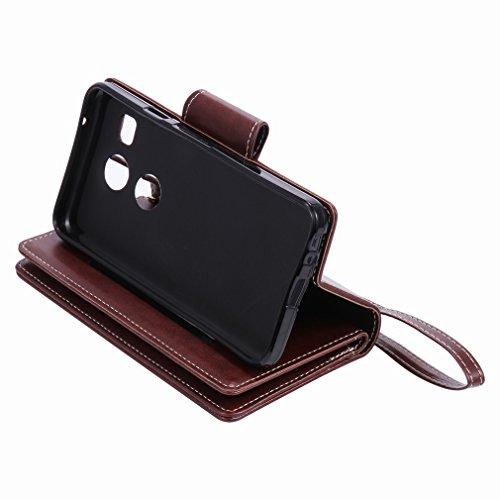 Yiizy LG Nexus 5X Funda, Chica Repujado Diseño Solapa Flip Billetera Carcasa Tapa Estuches Premium PU Cuero Cover Cáscara Bumper Protector Slim Piel Shell Case Stand Ranura para Tarjetas Estilo (Marró