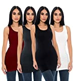 Unique Styles Seamless Long Tank Top Stretch Camisole Layering Top Regular Plus Size Pack of 4 (Plus Size, Black, Burgundy, Charcoal, White)