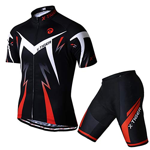 Road Bike Cycling Jersey - X-TIGER Men's Cycling Jersey Set,Biking Short Sleeve Set with 5D Gel Padded Shorts,Cycling Clothing Set for MTB Road Bike,Red XL