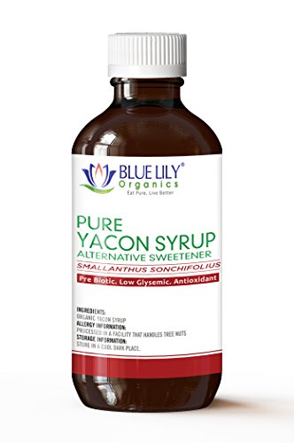 Blue Lily Organics | Yacon Syrup | Alternative Sweetener | All Natural Prebiotic, Low Glysemic, Antioxidant | Anti-Inflammatory Properties | Half the Calories of Sugar | Weight Management | 8 fl. oz -
