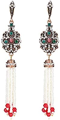 Pendientes vintage incrustados cristal largo borla gota pendientes para las mujeres oro antiguo color Navidad regalos Bohemia joyería