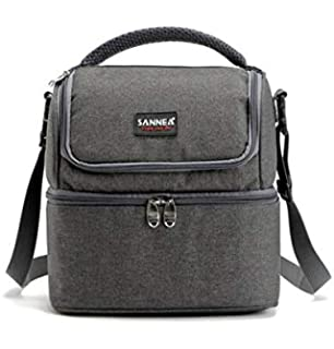16da334c7 SANNE 5L Double Decker Cooler Lunch Bags Insulated Solid Thermal Lunchbox  Food Picnic Bag Cooler Tote