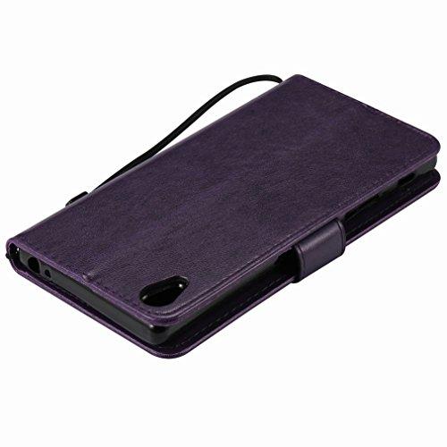 Custodia Sony Xperia Z5 Premium Cover Case, Ougger Alberi Gatto Printing Portafoglio PU Pelle Magnetico Stand Morbido Silicone Flip Bumper Protettivo Gomma Shell Borsa Custodie con Slot per Schede (Po