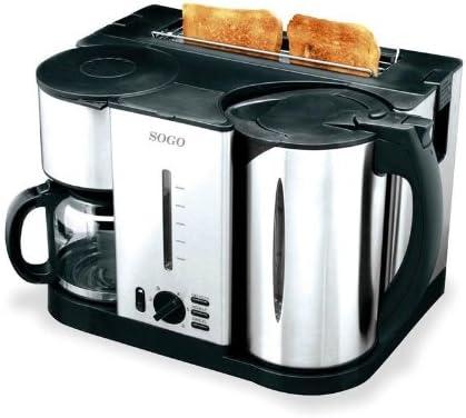 Sogo DES-SS230 - Set Desayuno 3 en 1 (cafetera, tostadora, hervidor de agua), acero inoxidable: Amazon.es: Hogar