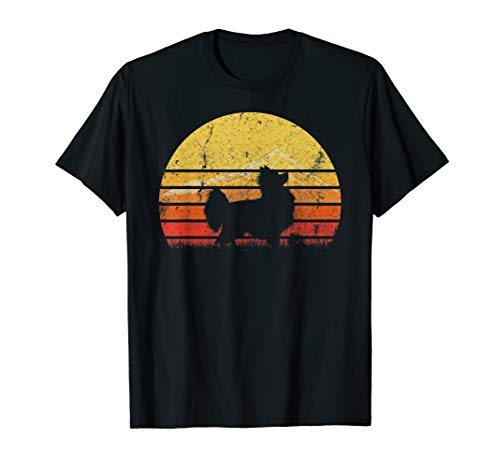 Vintage Retro Papillon Dog Silhouette Sunset Distressed Gift T-Shirt