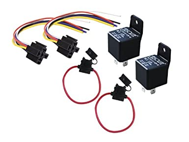 Absolute USA 2 In-line ATC Fuse Holder, 2 Relay RLS125 12 VCD Automotive Relay SPDT 30/40A and 2 SRS105 12 VDC 5-Pin Relay Socket Absolute USA Inc. ARLSPACK2