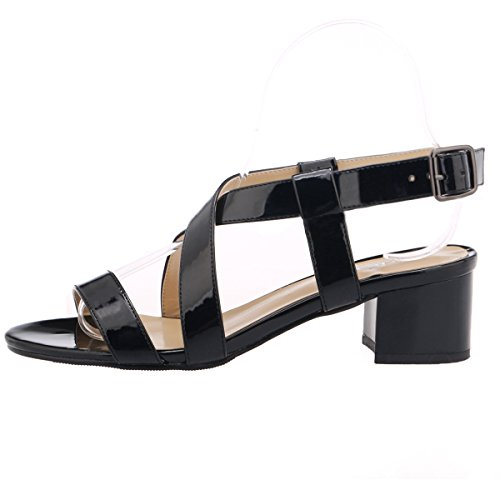 ZriEy Women's Classic Fashion Buckle Mid Chunky Heel Sandals Ultra Comfort Low Heel Shoes Black Size 6