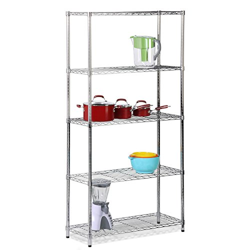 Steel Bakers Rack Has Plenty Over Shelf Storage Space to Free up Your Kitchen Counters