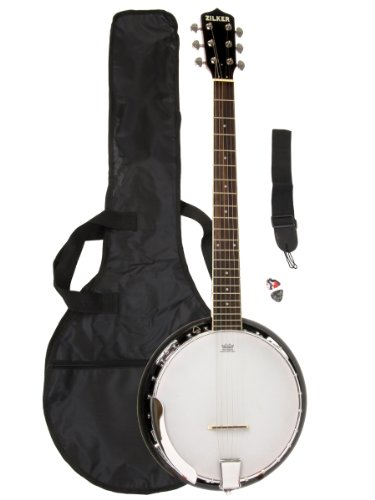 Zilker-ZBJ06-6-String-Banjo-Pack-with-Gig-Bag-Strap-and-Pick