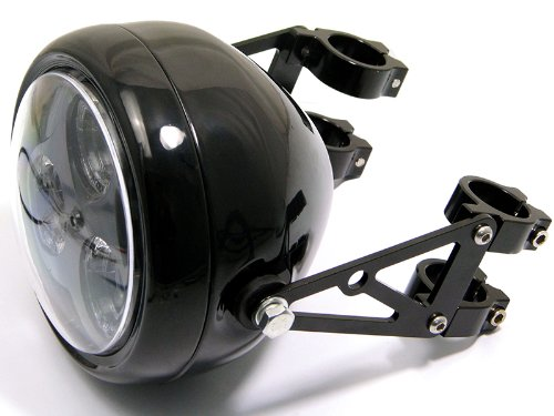 Max-Inc Universal Black Motorcycle Headlight Brackets Chopper Fork Mount Headlamp Bracket with Turn Signal Mounting Points for a Caf/é Racer Harley Davidson 40//41mm Diameter