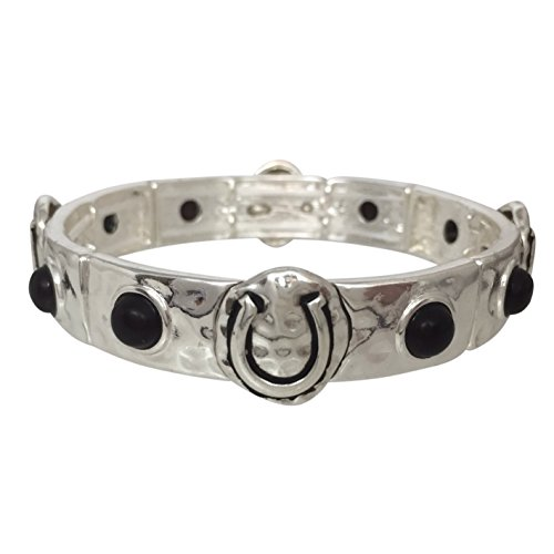 Black Dot Silver Tone Hammered Look Horse Shoe Lucky Horseshoe Stretch Bracelet (Cheap Cowgirl Boots Under 20)